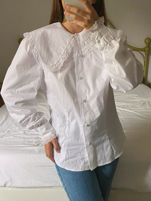 Vintage Italian pure cotton maxi collar shirt