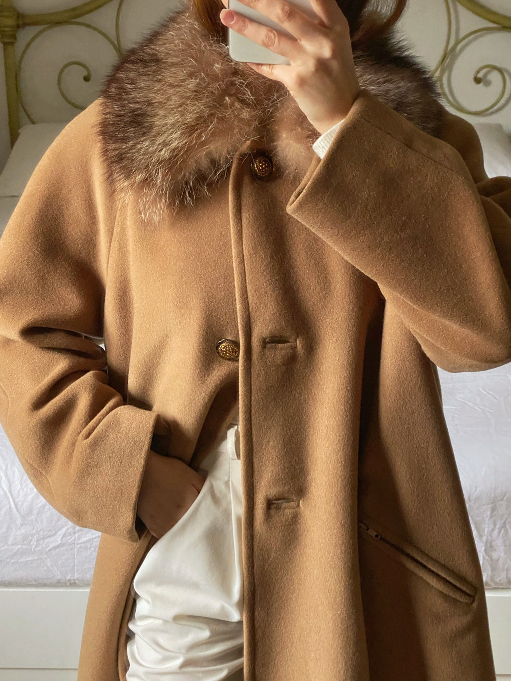Vintage pure wool real fur collar camel coat