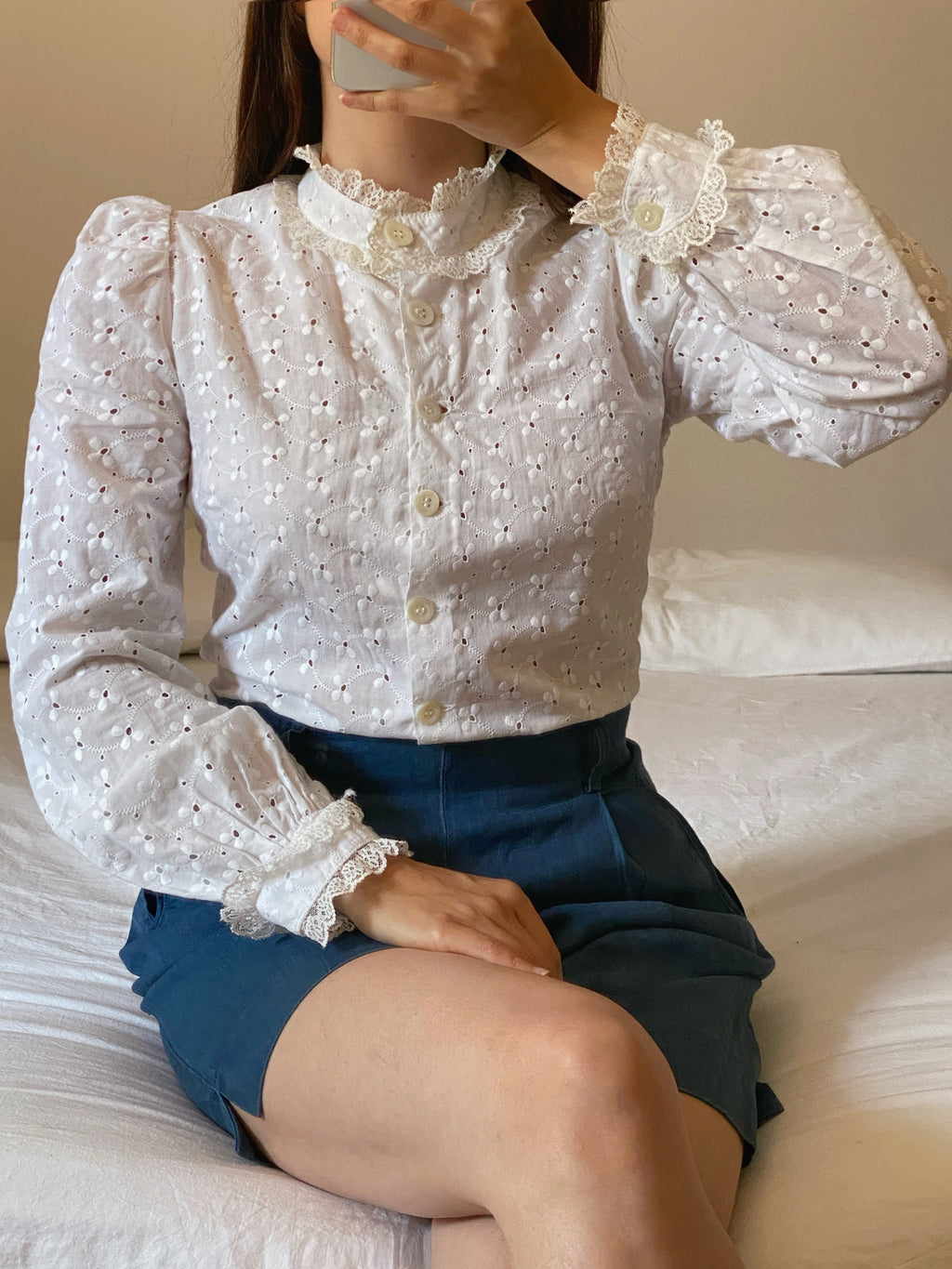 Vintage antique pure cotton lace details sangallo blouse