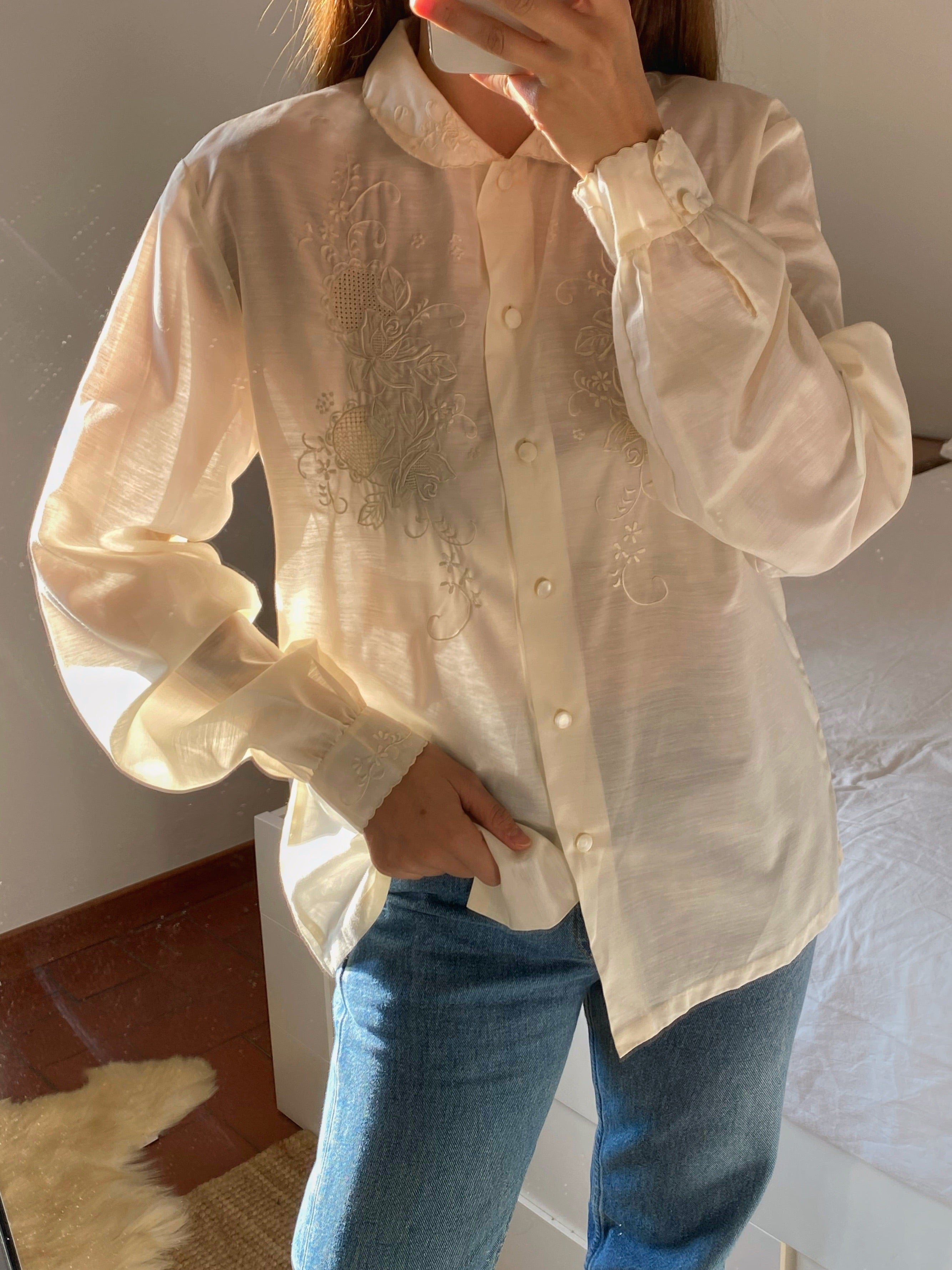 Vintage Italian cotton blend hand embroidered sheer cream blouse