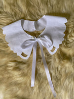 Vintage pure cotton flowers details ribbon collar