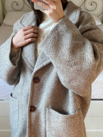 Vintage Italian pure wool double breasted herringbone beige coat