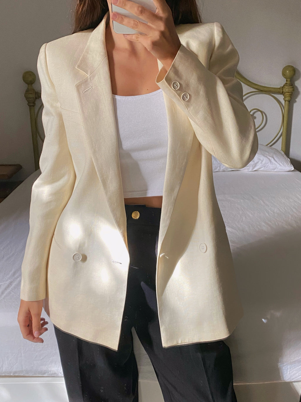 Vintage Italian pure linen double breast cream blazer