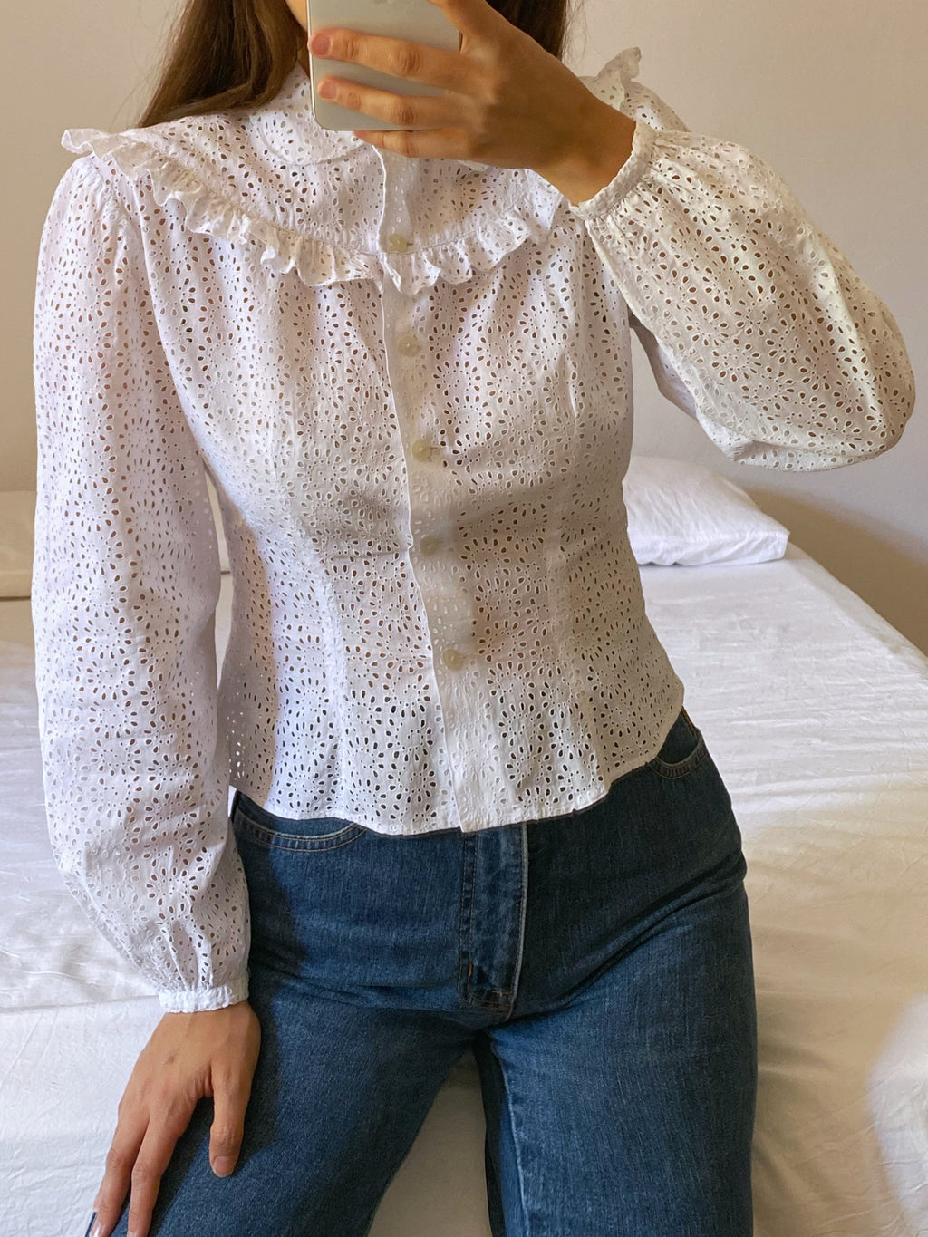 Vintage antique pure sangallo cotton ruffled details collar blouse