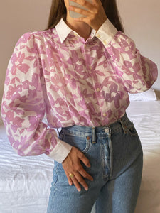 Vintage puff sleeve flowers sheer blouse