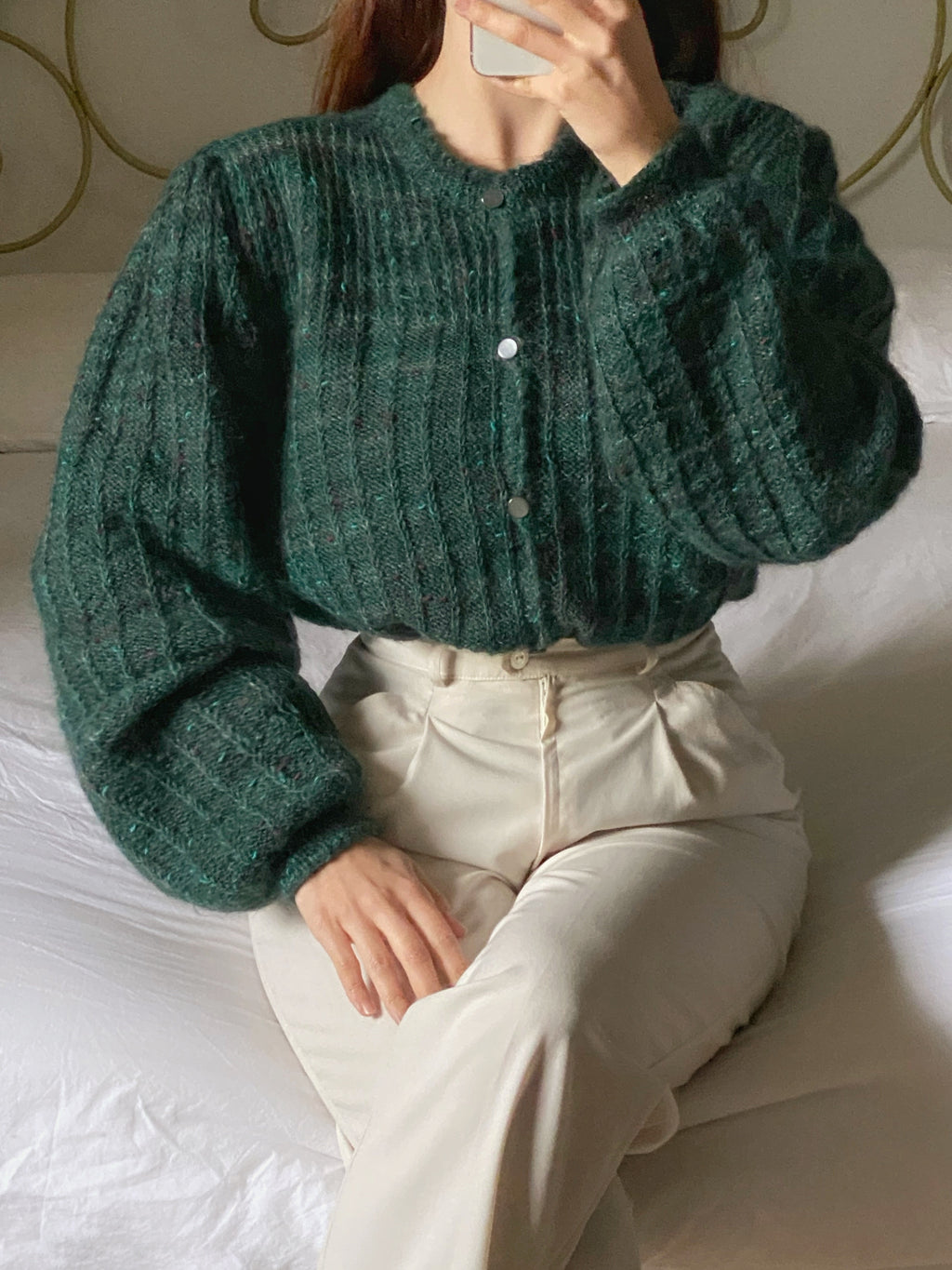 Vintage pure wool puff sleeve knitted cardigan