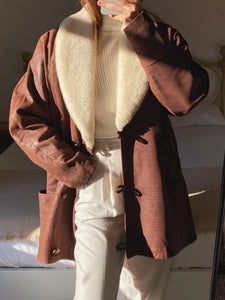 Vintage real leather shearling brown coat