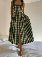 Vintage Austrian pure cotton vichy buttoned dress