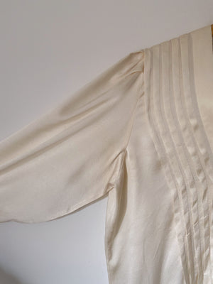Vintage handmade pure silk maxi sleeve cream blouse
