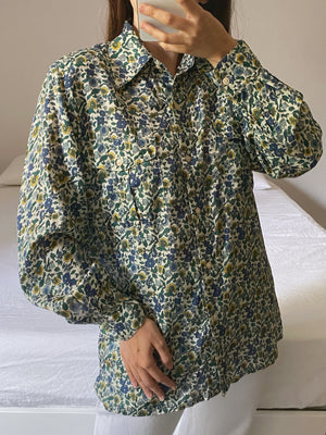 Vintage Italian pure silk flowers shirt