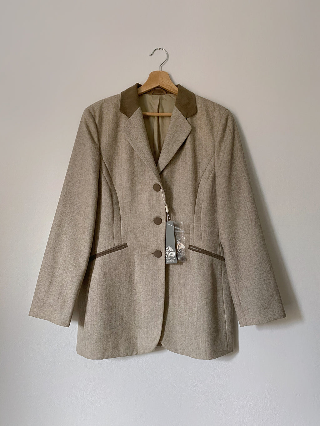 Vintage Italian pure new wool grey blazer