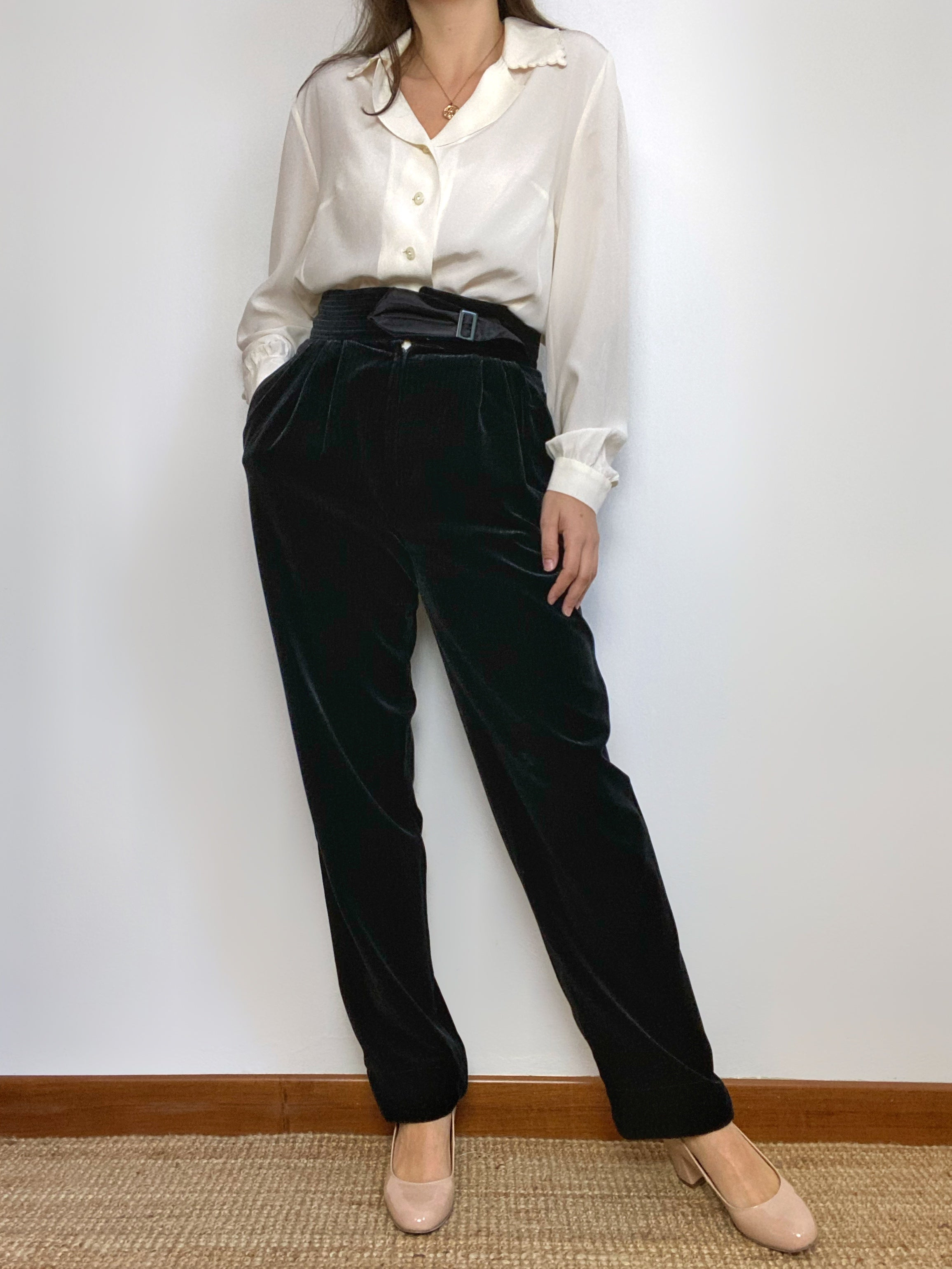 Vintage italian high waist black velvet pants