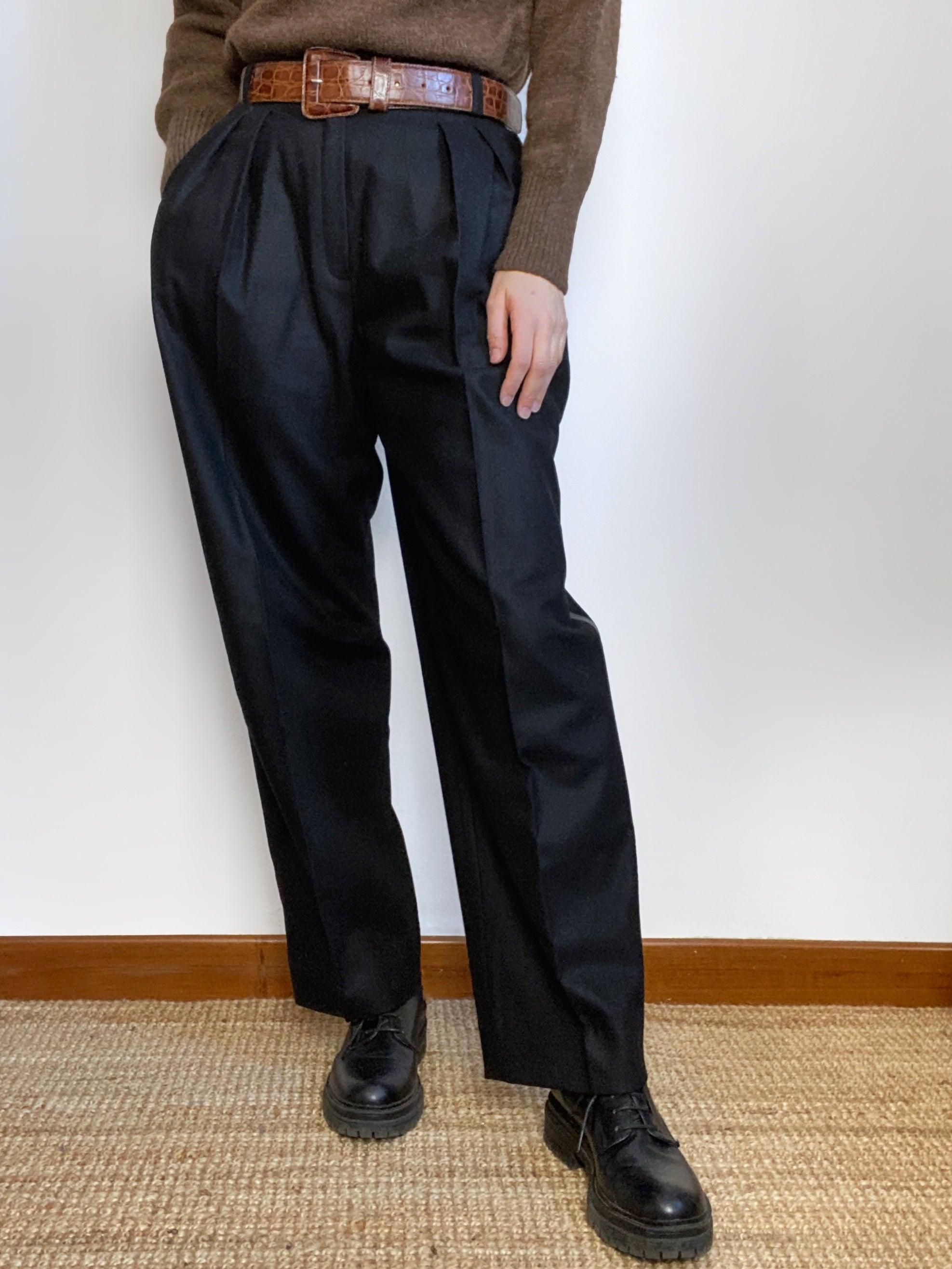 Vintage iBlues wool pants with leather details