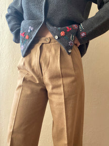 Vintage pure wool beige pleats pants