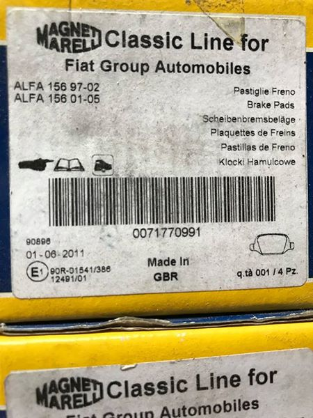 Brake Pad Set - rear - 156 - 71770991