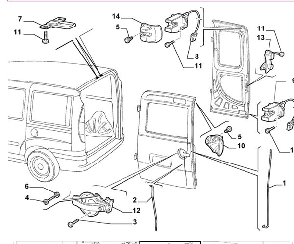 Rod - back door - 46810606 - Fiat Doblo - number 1 in the diagram