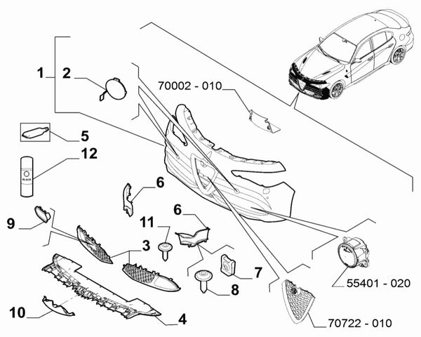 Air intake - 156141624 - Giulia - part number 6 in the diagram