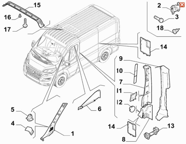 Covering - 71778630 - Fiat Ducato - item one in the diagram