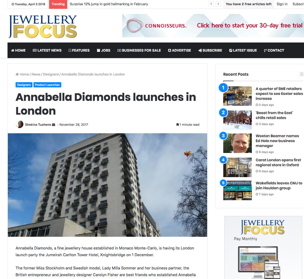 Annabella Diamonds featured in Jewellery Focus Magazine