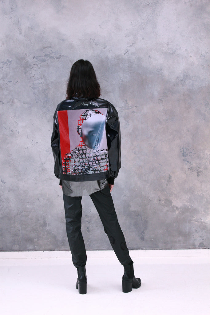 "Iridescent ""3D Cyber Muse"" Bomber"