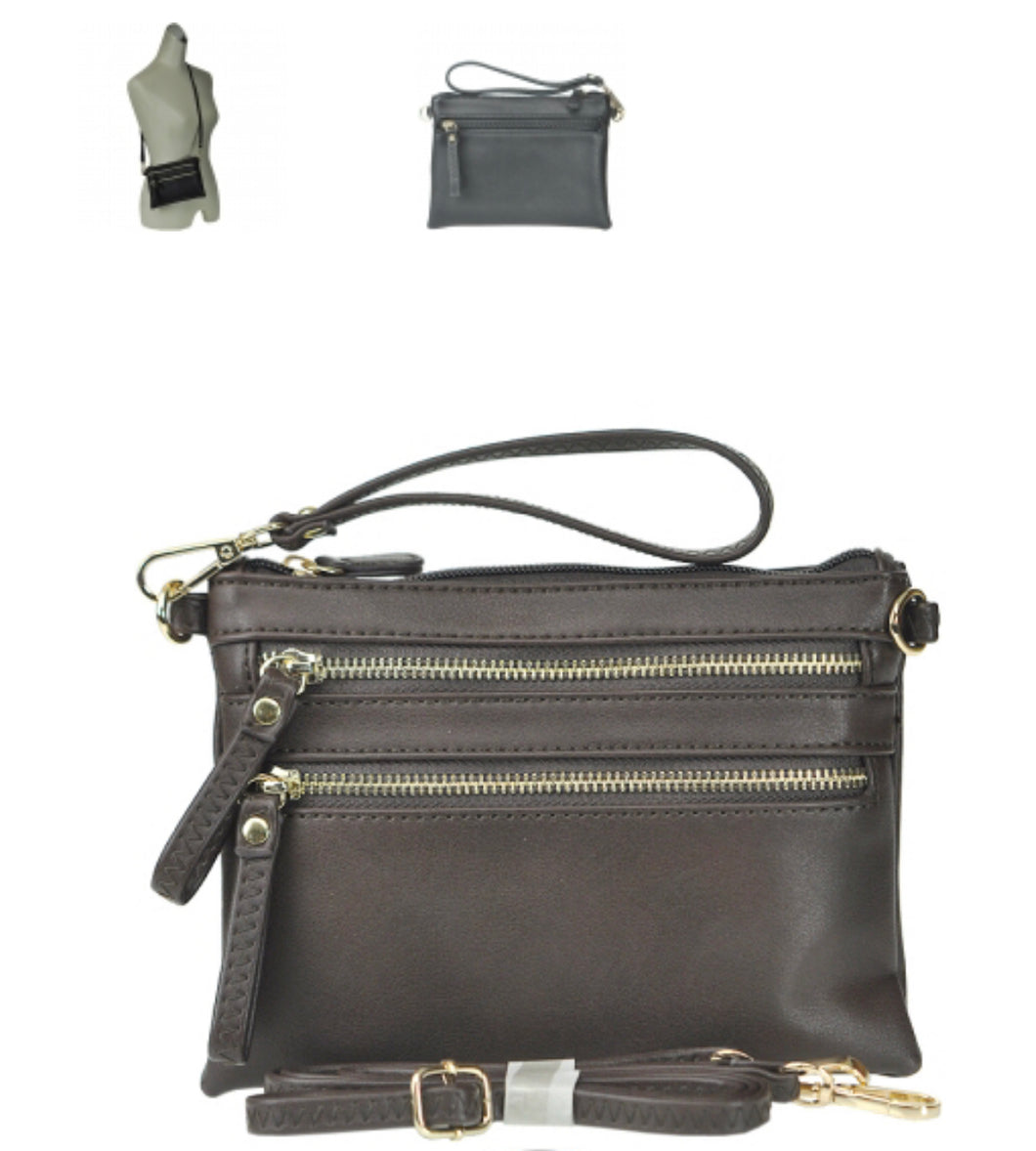 Petit Double Zippered Pocket Clutch with Wristlet and Strap