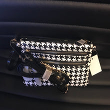 Houndstooth Patent Leather Crossbody Messenger Bag