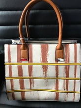 Striped Faux Leather Satchel