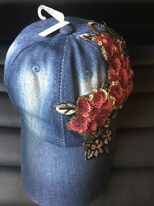 Sequin flower patched denim cap
