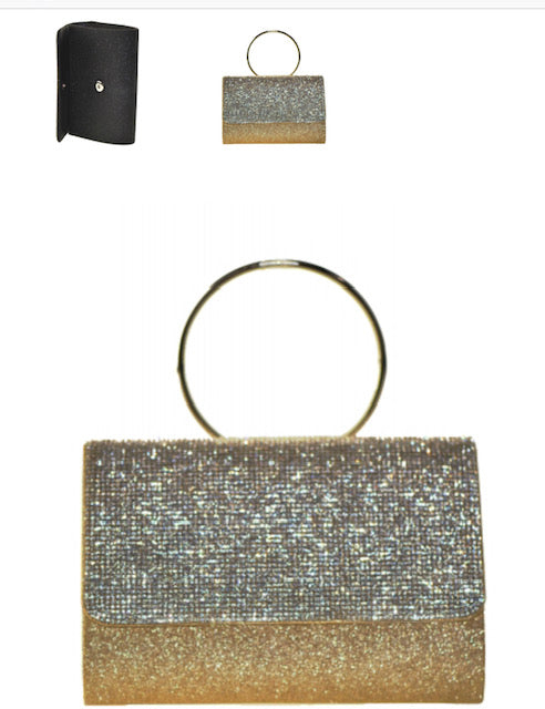 Fashion Crystal Handbag with Round Metallic Ring-Gold