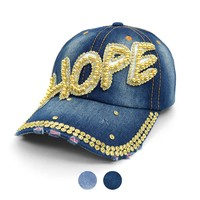 """Hope"" Bling Studs Denim Baseball Cap"