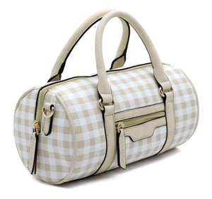 Plaid Check Cylinder Satchel