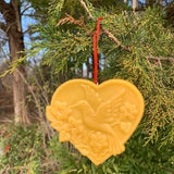 Heart-Shaped Hummingbird Beeswax Ornament