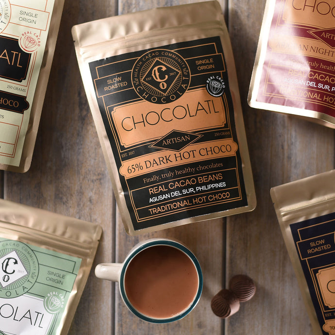 65% Dark Choco with free solo-size wire whisk - 250 grams - Hot Chocolatl