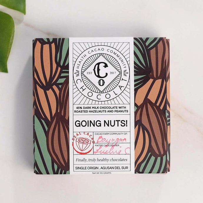 Going nuts! 45% Dark Milk Chocolate with Roasted Whole Hazelnuts and Peanuts - Chocolate Bar - Co Chocolat
