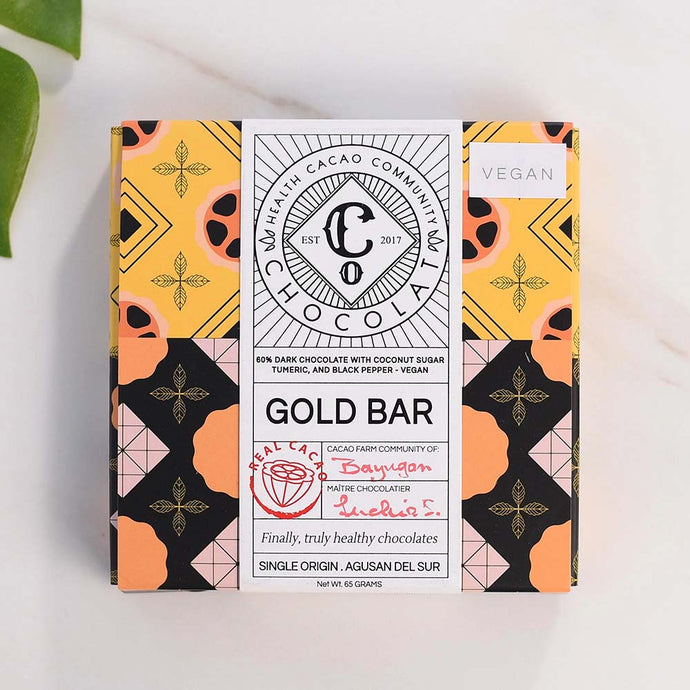 Gold Bar, Gold Finger 60% Dark Chocolate with Turmeric and Black Pepper - Chocolate Bar - Co Chocolat