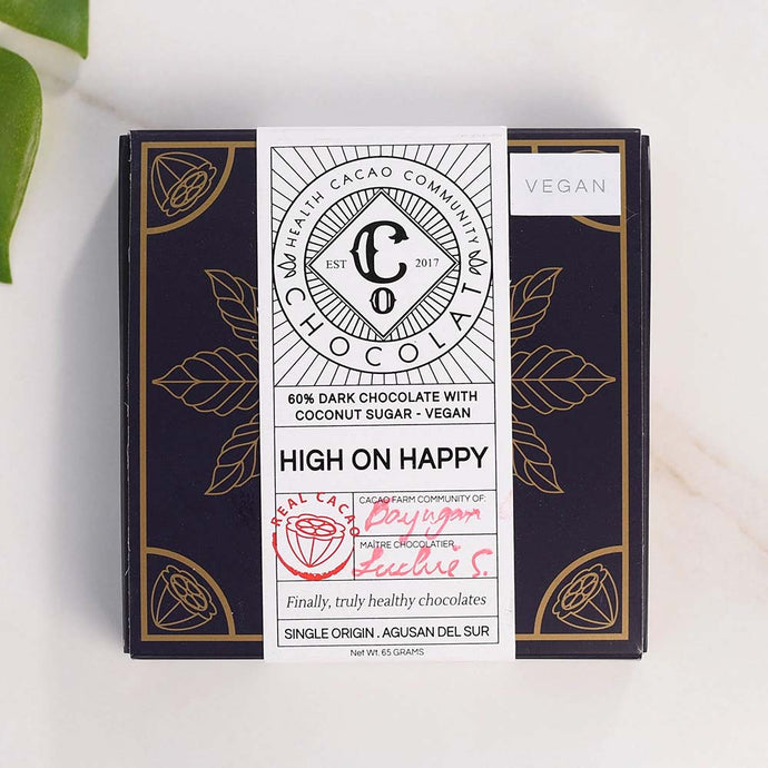 High on Happy 60 % Dark Chocolate with Coconut Sugar - Chocolate Bar