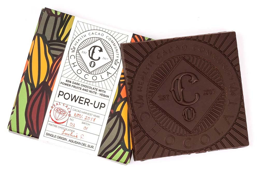 Power-up  65% Dark Chocolate with Dates, Cranberry and Almonds - Chocolate Bar