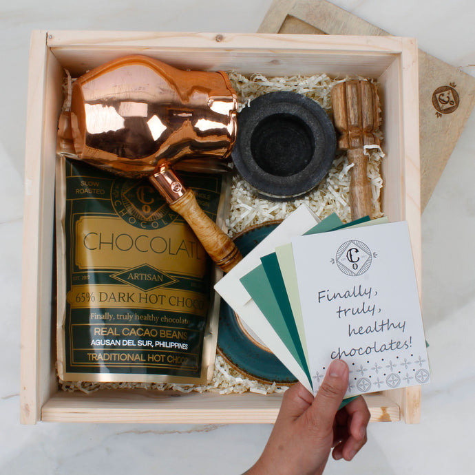 The Purist Chocolatl Drinker - Copper and Farm Blue - Gift Box - Co Chocolat