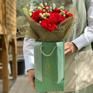 Miss Mary Rose –  Classic bouquet of roses and box of chocolates
