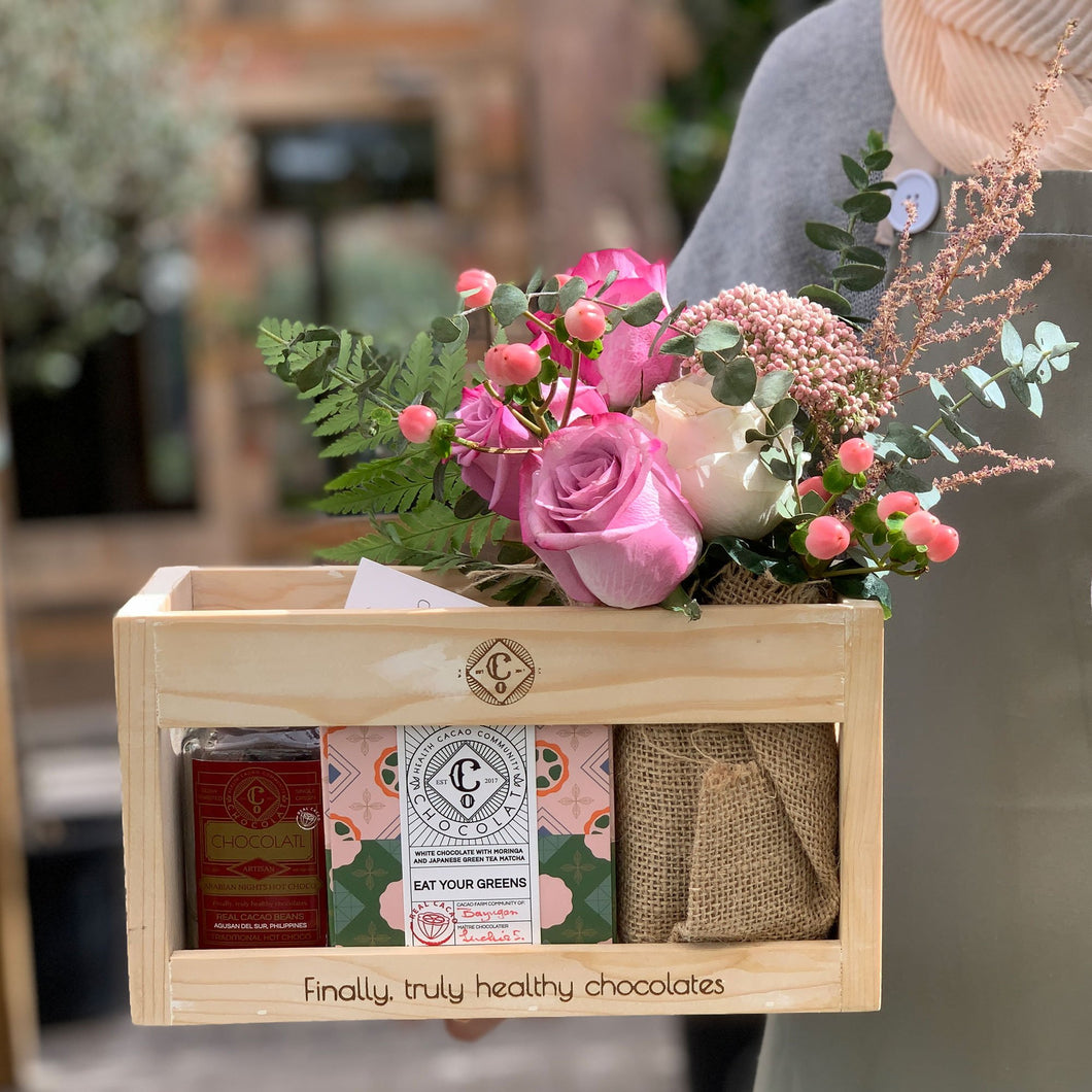 Pink Lady Exquisite crate of roses and choco treats