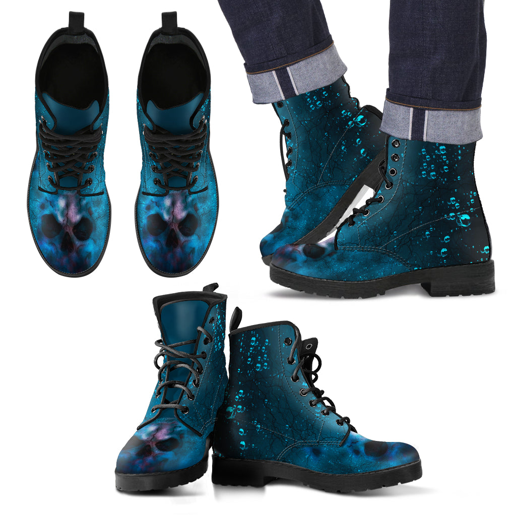 Haunted Skull Leather Boots