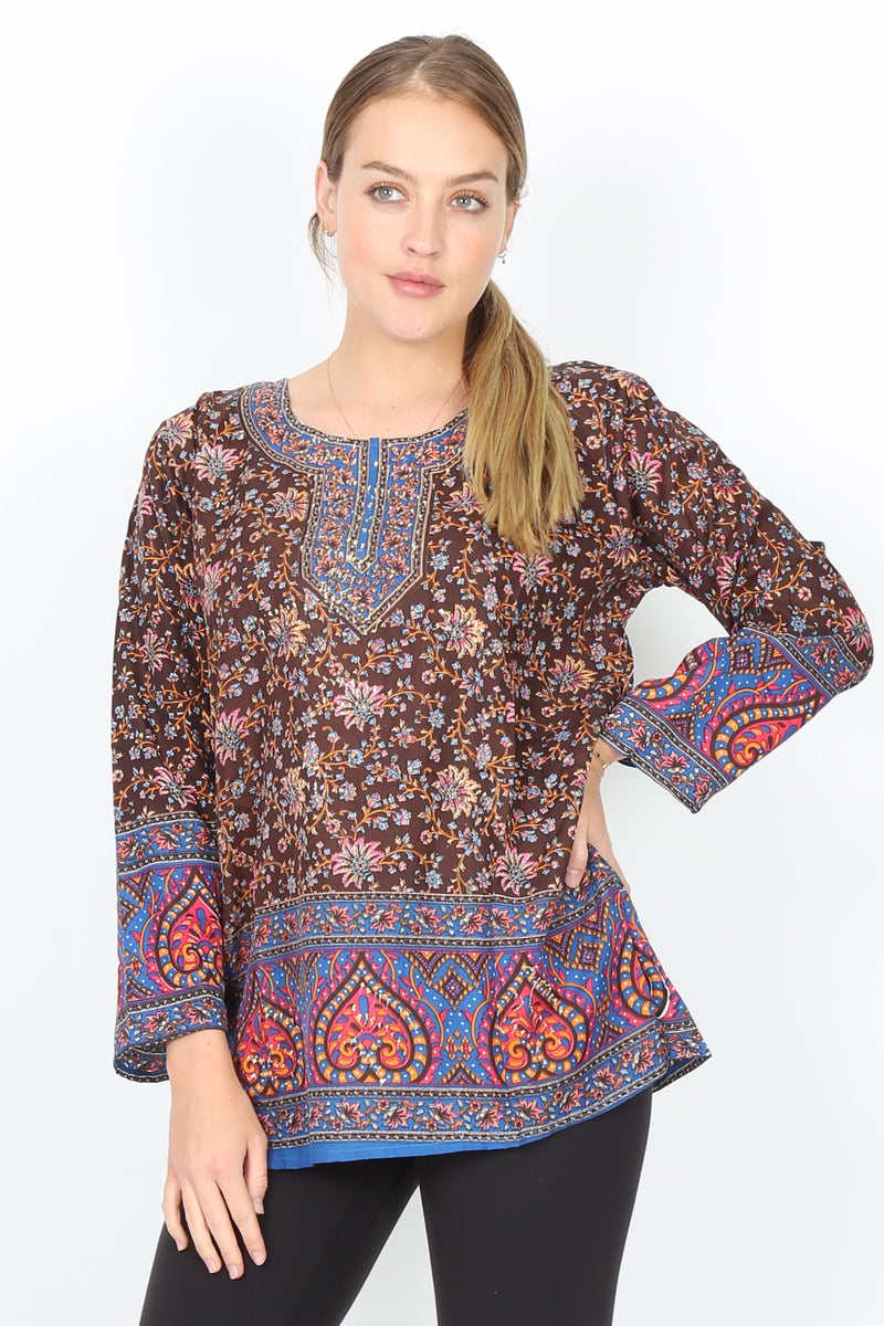 Blusa Bagru Estampado de Paisleys Cafe