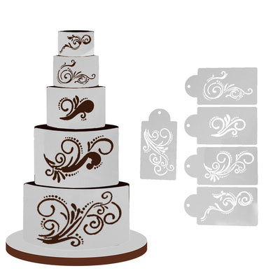 5PCs Lace Cake Stencil Fondant Template Food Grade Plastic Cookie Cake Decorating Mould DIY Kitchen Baking Accessories - Kitchendayz