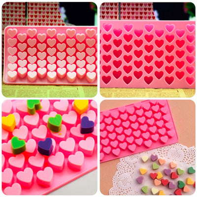 Cute 55 Mini Heart Shape Silicone Ice Cube Fondant Chocolate Tray Mold Mould - Kitchendayz