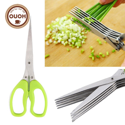 Multi-functional Stainless Steel Kitchen Knives 5 Layers Scissors Sushi Shredded Scallion Cut Herb Spices Scissors Cooking Tools - Kitchendayz