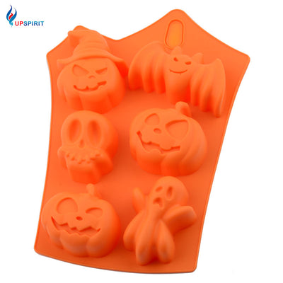 Upspirit 6 Cavity Halloween Chocolate Silicone Mold Ice Cube Mold Pumpkin - Kitchendayz