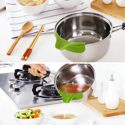 kitchen utensils cooking splatter screen Silicone funnel pots and pans round rim deflector Anti-spill drain Spout Slip On Mess - Kitchendayz