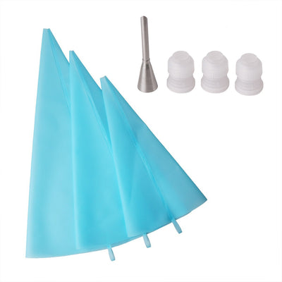 3 Sizes Resuable Silicone Cake Decorating Icing Pastry Bag with 3 Couplers 1 Puff Nozzle Kitchen Utensil Cake Decorating Tool - Kitchendayz