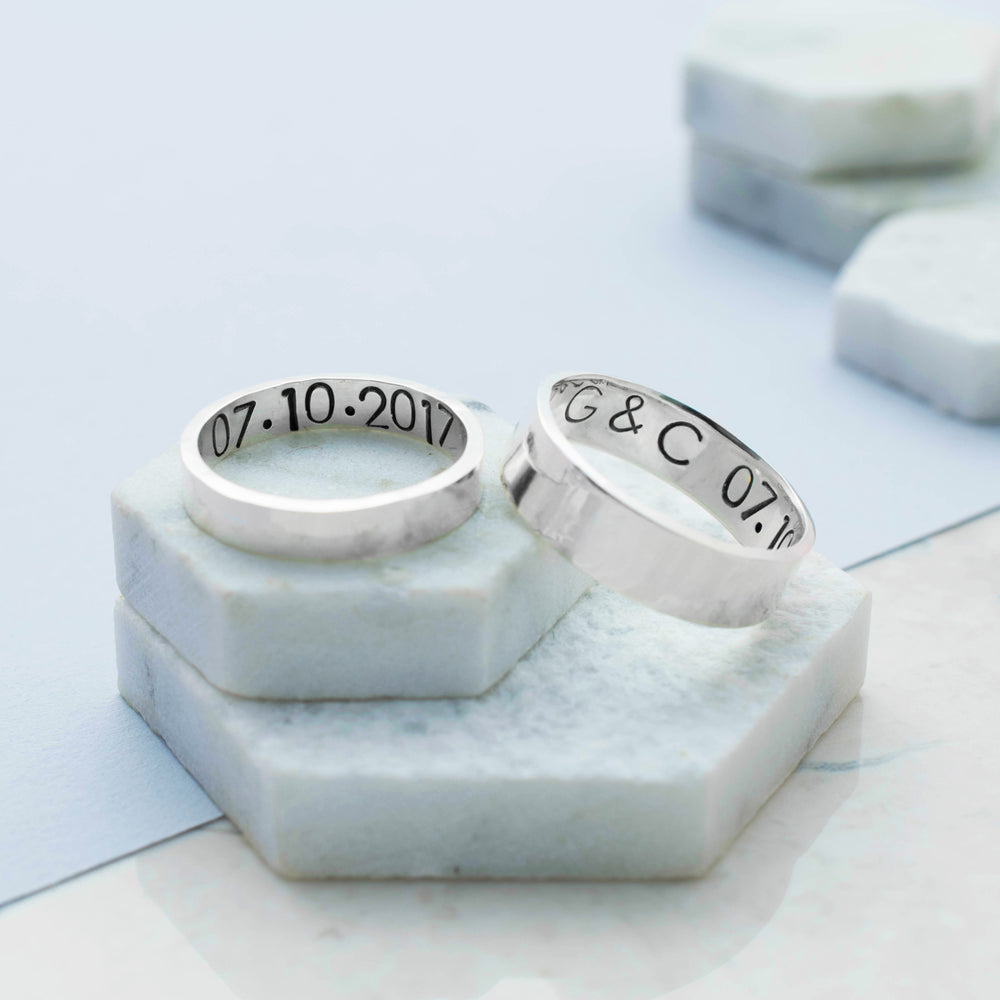 Matching Personalised Ring Set