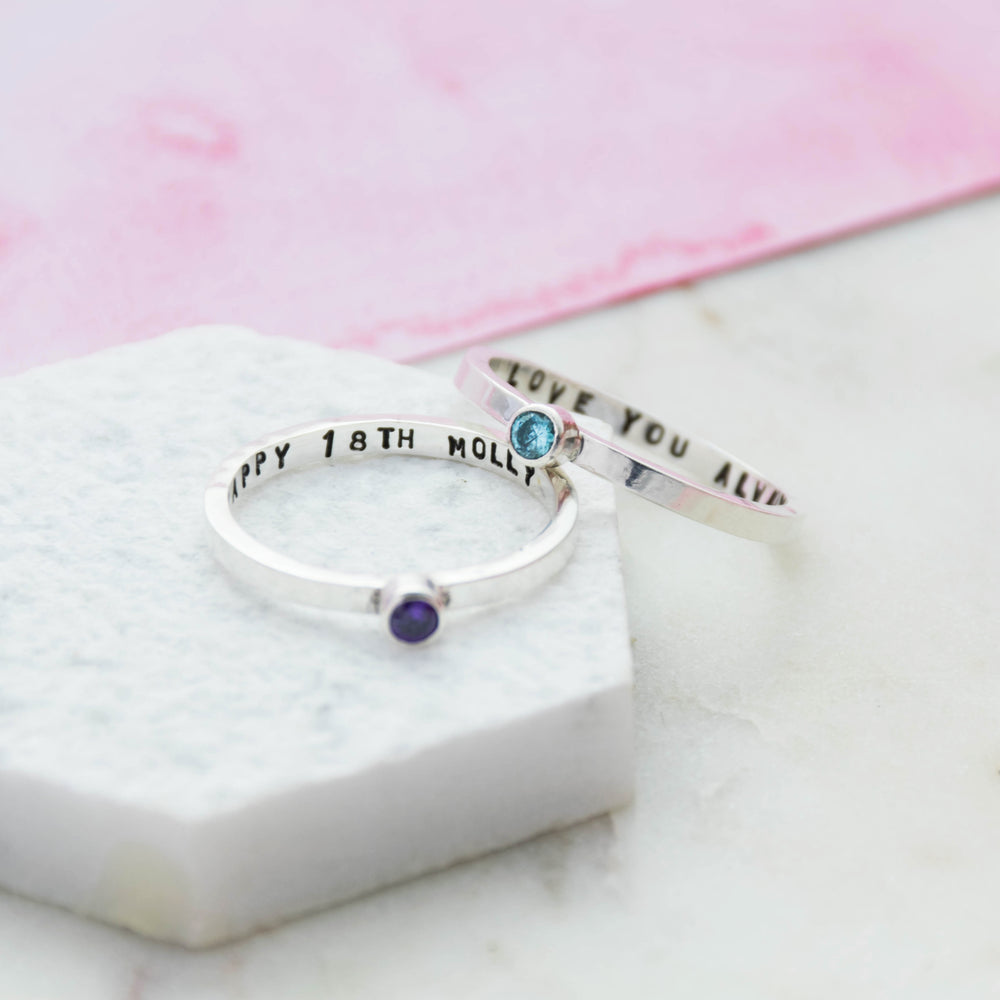 Secret Message Birthstone Ring
